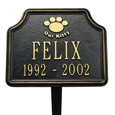 Black/Gold Our Kitty Cat Paw Two Line Lawn Marker