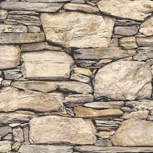 Hadrian Stone Wall Vinyl Peel & Stick Wallpaper Roll (Covers 30.75 Sq. Ft.)