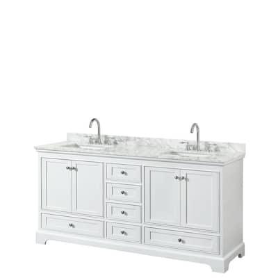 Deborah 72 in. W x 22 in. D Vanity in White with Marble Vanity Top in Carrara White with White Basins