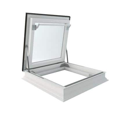 DRF 30 in. x 36 in. Venting Flat Roof Deck-Mount Roof Access Skylight Triple Glazed, Roof Hatch