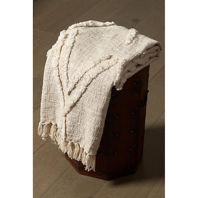 LR Home Handmade Boho Farmhouse Natural - Off White Sofa Bed Throw Blanket with Fringe