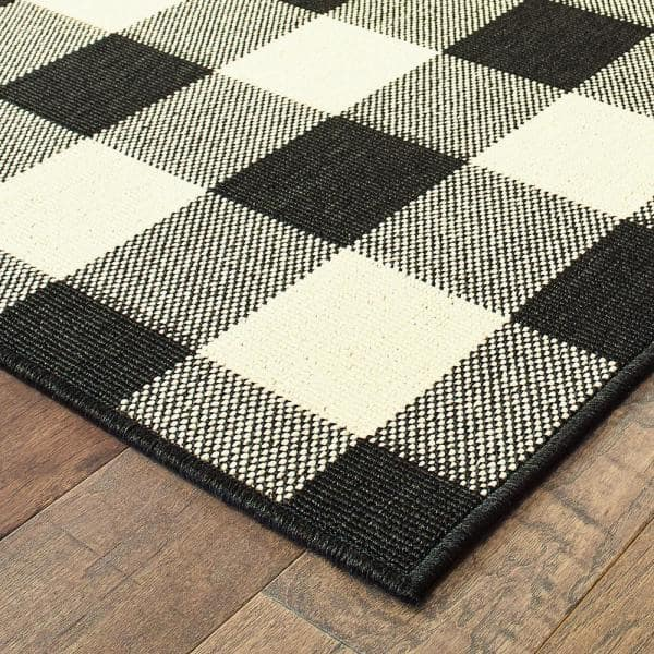 Stylewell Clio Ivory Black 8 Ft X 10 Ft Buffalo Check Indoor Outdoor Area Rug 871907 The Home Depot
