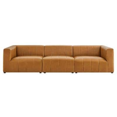 Bartlett 129 in. Tan Faux Leather 3-Seat Sofa with No Additional Features