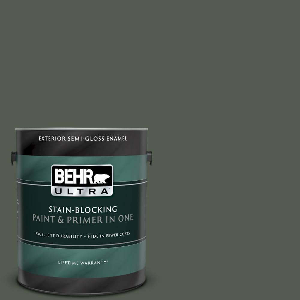 Behr Ultra 1 Gal N380 7 Black Bamboo Semi Gloss Enamel Exterior Paint And Primer In One 585301 The Home Depot