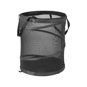 Black Pop-Up Polyester Mesh Laundry Hamper