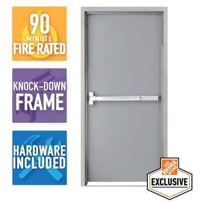 36 in. x 80 in. Right-Hand Galvanneal Steel Mill Primed Commercial Door Kit with 90 Minute Fire Rating, Knock Down Frame