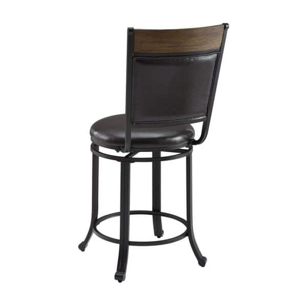 Powell Company Franklin Rustic Umber With Brown Faux Leather Upholstery 24 In Counter Stool With Swivel Hd1561cs20 The Home Depot