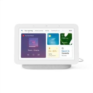 """Nest Hub 2nd Gen - Smart Home Speaker and 7"""" Display with Google Assistant - Chalk"""