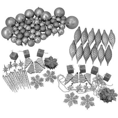 Silver Splendor Shatterproof 4-Finish Christmas Ornaments (125-Count)