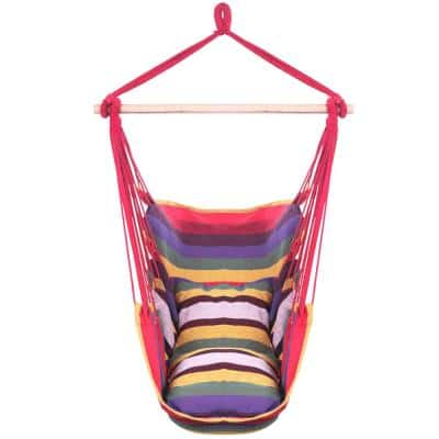 51 in. Portable Hammock Rope Chair Outdoor Hanging Air Swing in Colorful