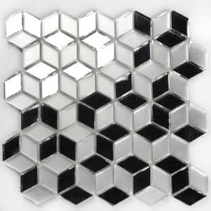 Musico Frosted & Mirrored Silver Diamond Mosaic 2 in. x 2 in. Glass Mirror Peel & Stick Wall Tile (7 Sq. ft./Case)