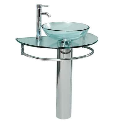 Attrazione 28.75 in. Modern Stainless Steel Pedestal with Clear Glass Vessel Sink