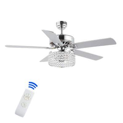 Kristie 52 in. 3-Light Chrome Crystal/Metal Modern Glam Drum LED Indoor Ceiling Fan With Remote