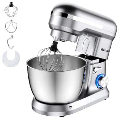 380W 4.8 qt. . 8-Speed Silver Stainless Steel Stand Mixer with Dough Hook Beater