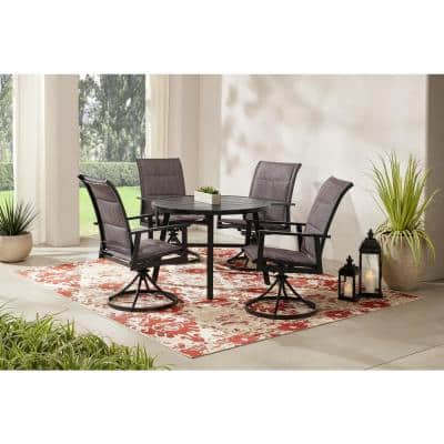 High Garden 5-Piece Black Steel Padded Sling Slat Top Round Outdoor Patio Dining Set