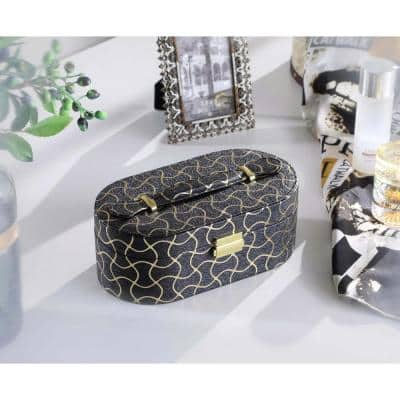 3.5 in. Black Leather with Gold Swirl Piping Jewelry Case and Mirror Travel Case
