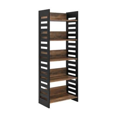 64 in. Reclaimed Barnwood and Solid Black Wood Modern Industrial 5-Shelf Slatted Accent Bookcase