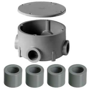 3/4 in. PVC Type-X Round Junction Box with Cover