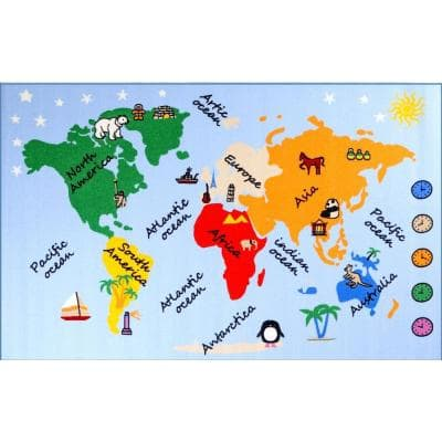 Fun Time What a World Multi 3 ft. x 5 ft. Area Rug