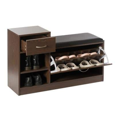 24 x 37.5 x 12 Wooden Entryway Shoe Storage Brown Bench with Cushion