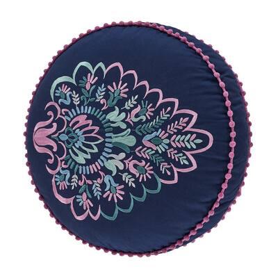 Kinsley Indigo Round Decorative Throw Pillow