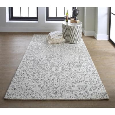 Natal Ivory/Charcoal 9 ft. x 12 ft. Medallion Wool Area Rug