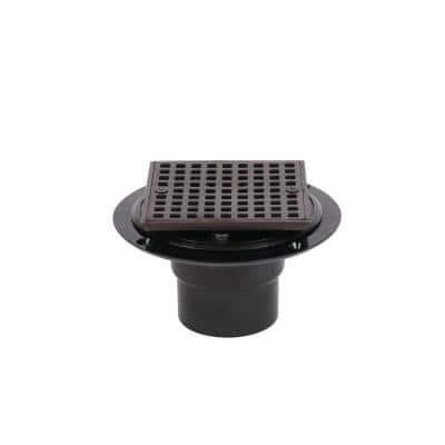 Round Black ABS Shower Drain with 4-3/16 in. Square Screw-In Oil Rubbed Bronze Drain Cover