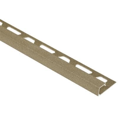 Quadec Beige Textured Color-Coated Aluminum 1/4 in. x 8 ft. 2-1/2 in. Metal Square Edge Tile Edging Trim