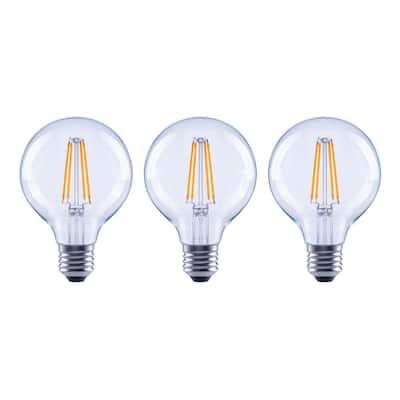 60-Watt Equivalent G25 Dimmable ENERGY STAR Clear Glass Filament Vintage Edison LED Light Bulb Bright White (3-Pack)
