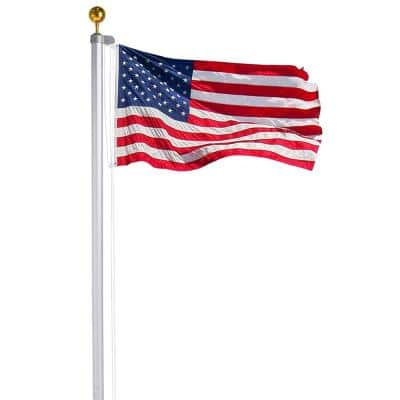 20 ft. Sectional Flag Pole Kit Extra Thick Heavy-Duty Aluminum Flagpole Set with American Flag and Golden Ball