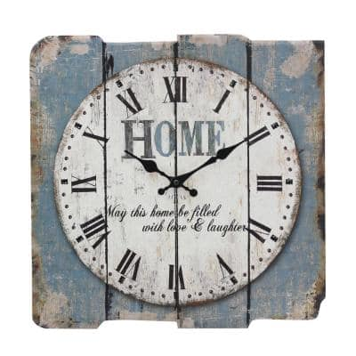 Worn Blue Roman Numeral Wall Clock