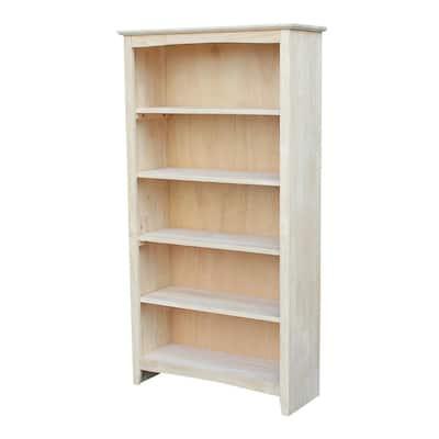 60 in. Unfinished Wood 5-shelf Standard Bookcase with Adjustable Shelves