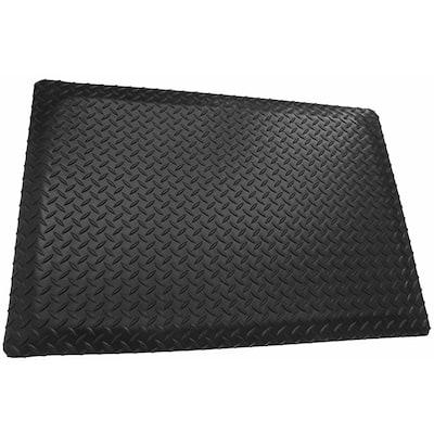 Black 4 ft. x 21 ft. x 1 in. Diamond Plate Anti-Fatigue Mat