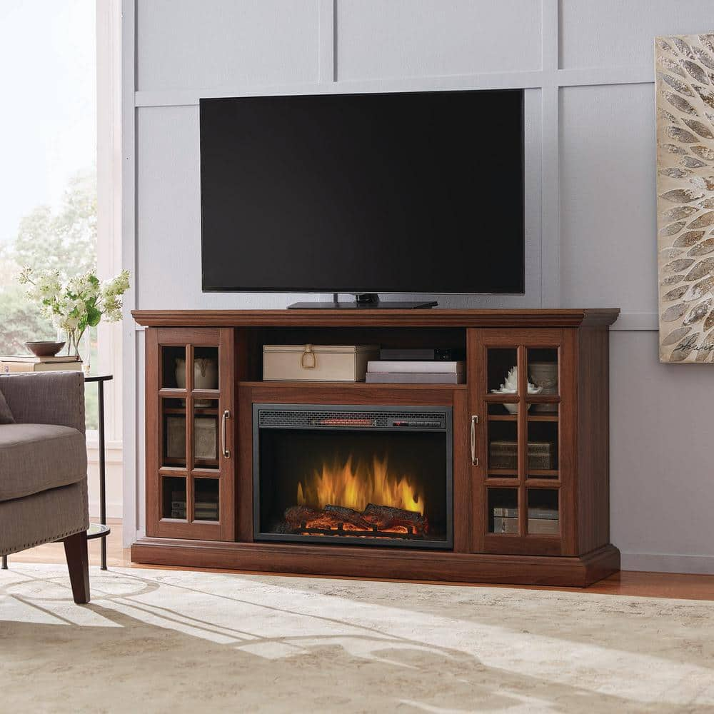 Reviews For Home Decorators Collection Edenfield 59 In Freestanding Infrared Electric Fireplace Tv Stand In Burnished Walnut 365 302 121 Y The Home Depot