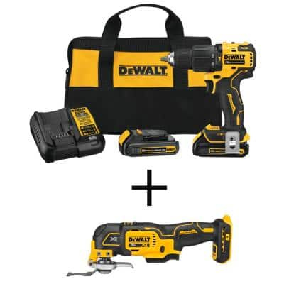 ATOMIC 20-Volt MAX Brushless Cordless Compact 1/2 in. Hammer Drill with 20-Volt Brushless Oscillating Tool (Tool Only)