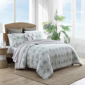 Distressed Palm 3-Piece Green Floral Cotton King Comforter Set