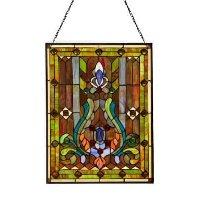 Multi Stained Glass Fleur de Lis Window Panel