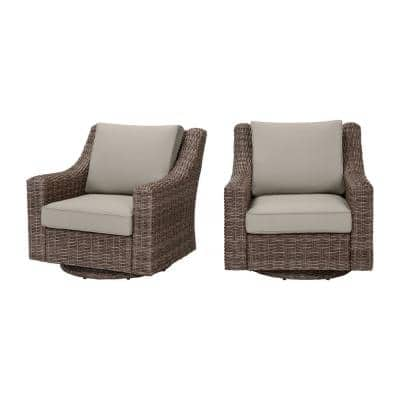 Rock Cliff Brown Wicker Outdoor Patio Swivel Rocking Chair with CushionGuard Riverbed Tan Cushions (2-Pack)