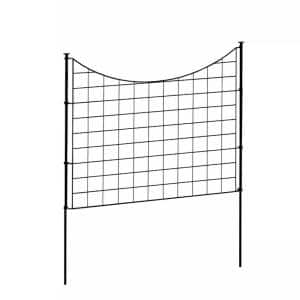 2.08 ft. H x 2.46 ft W Zippity Black Metal Garden Fence Panel with Stakes (5 pack)