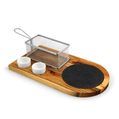 Large 14.5 in. x 8 in. Rectangular Acacia Wood End Grain Burger Board Set with French Fry Basket and Sauce Holders