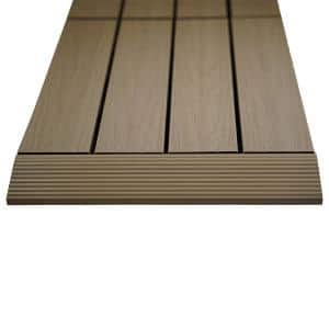 1/6 ft. x 1 ft. Quick Deck Composite Deck Tile Straight Fascia in Japanese Cedar (4-Pieces/Box)