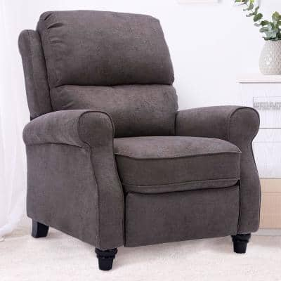 36 in. Width Big and Tall Warm Gray Fabric 3 Position Manual Recliner
