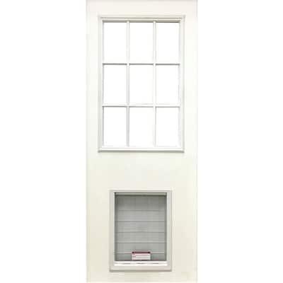 31-3/4 in. x 79 in. Clear 9-Lite White Primed Fiberglass Front Door Slab with Super Large Pet Door