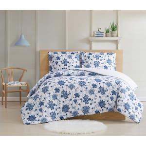 Estate Bloom 3 Piece Blue Cotton King Comforter Set