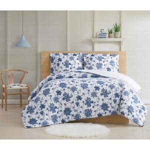 Estate Bloom 2 Piece Blue Cotton Twin XL Comforter Set