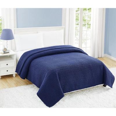 Cloud Sherpa Navy Polyester Twin XL Blanket