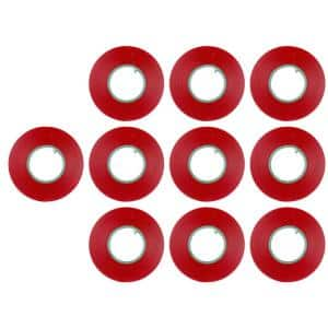 3/4 in. x 60 ft. Vinyl Electrical Tape Red (10-Pack)