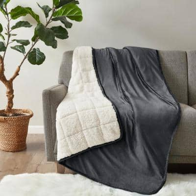 Velvet to Berber Charcoal 60 in. x 80 in. 15 lbs. Weighted Blanket
