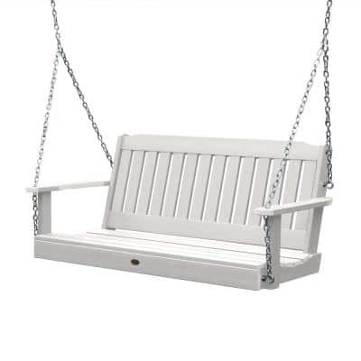 Lehigh 60 in. 2-Person White Recycled Plastic Porch Swing