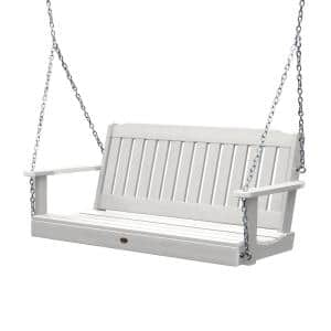Lehigh 48 in. 2-Person White Recycled Plastic Porch Swing